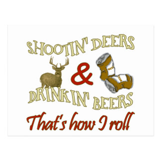 Drinking Beer Shooting Deer Postcard