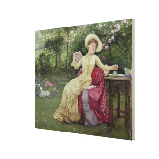 Drinking Coffee and Reading in the Garden (w/c on Gallery Wrap Canvas