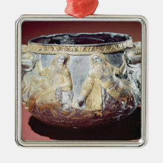 Drinking cup depicting Scythian soldiers Silver-Colored Square Decoration