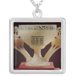 Drinking cup in form of a half-opened lotus silver plated necklace
