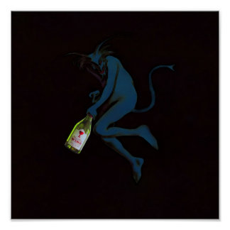 Drinking Devil Print Poster