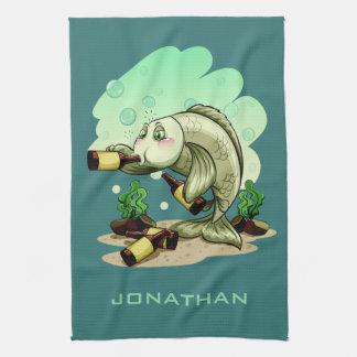 Drinking Fish custom name hand towel