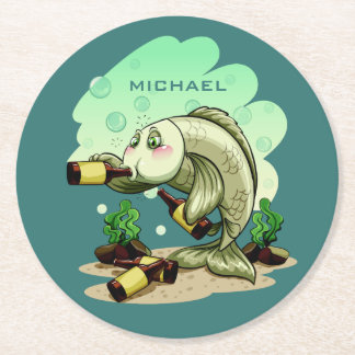 Drinking Fish custom name paper coasters
