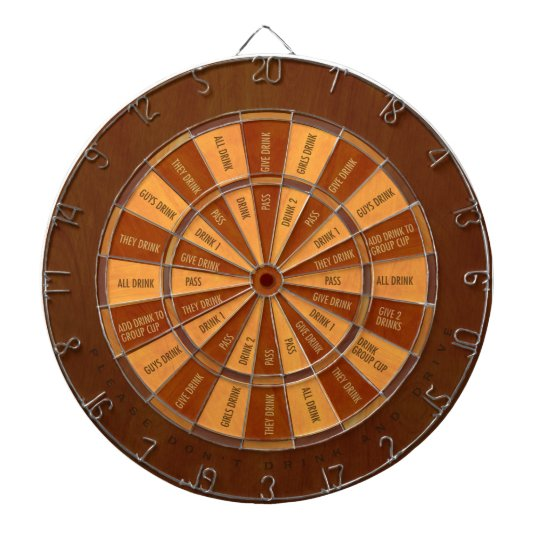 Drinking Game in Faux Inlaid Wood Dartboard