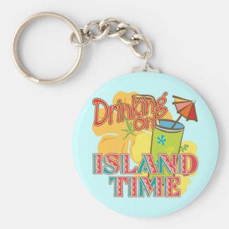 Drinking on Island Time Keychain