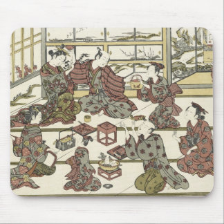 Drinking Sake in A Pleasure House, Toyonobu Mouse Pad