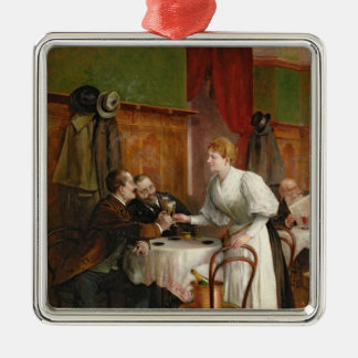 Drinking their health Silver-Colored square decoration