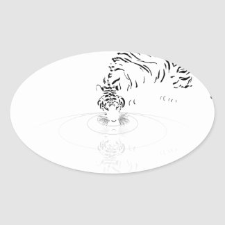 Drinking Tiger Oval Sticker