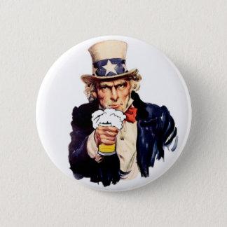 Drinking Uncle Sam 6 Cm Round Badge