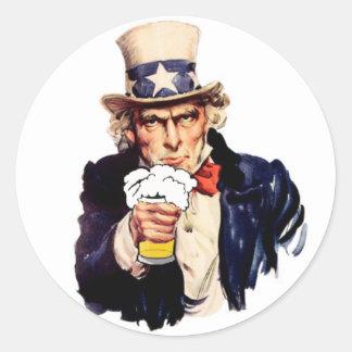 Drinking Uncle Sam Classic Round Sticker