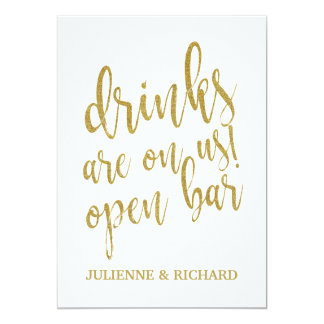 Drinks are on us! Affordable Wedding Bar Sign Card
