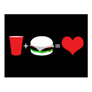 drinks + hamburgers = love postcard