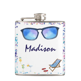 Drinks On The Beach - Monogram Bride & Bridesmaids Hip Flask