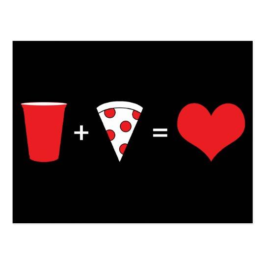 drinks + pizza = love postcard