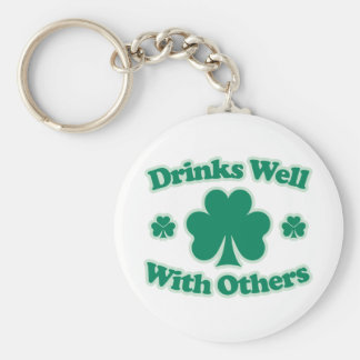 Drinks Well With Others Basic Round Button Key Ring