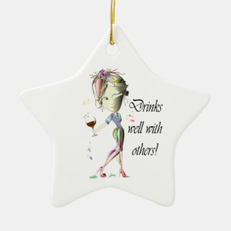 Drinks well with others, funny Wine art Christmas Ornament