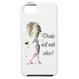 Drinks well with others, funny Wine art iPhone 5 Case