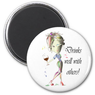 Drinks well with others, funny Wine art Magnet