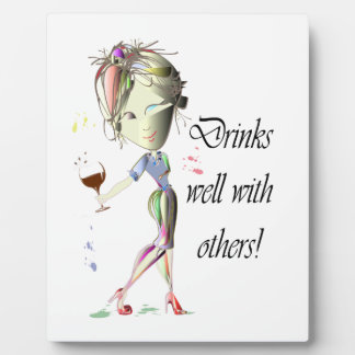 Drinks well with others, funny Wine art Plaque