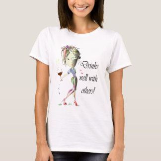 Drinks well with others, funny Wine art T-Shirt