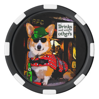 Drinks Well with Others Welsh Corgi Set Of Poker Chips