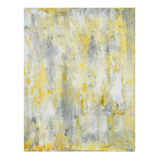 'Drip' Grey and Yellow Abstract Art Poster Print