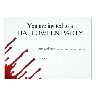 Dripping blood halloween party invitations