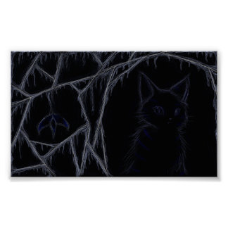 Dripping cobwebs cat poster