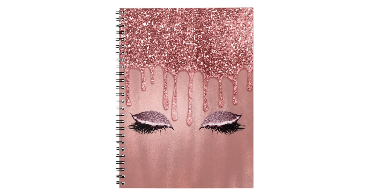 Dripping In Rose Gold Glitter Pink Drips Lashes Notebook