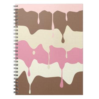 Dripping Neapolitan Ice Cream Spiral Notebook