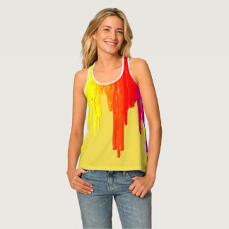 Dripping paint palette, yellow, red rainbow colors tank top
