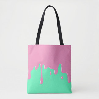 Dripping Pink and Mint Colored Slime Tote Bag