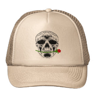Drippy White Skull with Rose in Teeth Cap