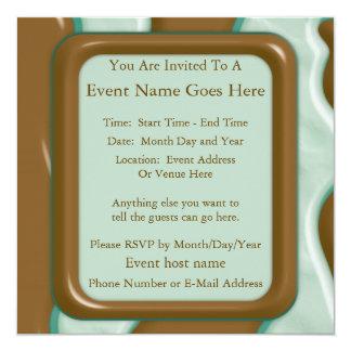 Drips - Chocolate Mint 13 Cm X 13 Cm Square Invitation Card