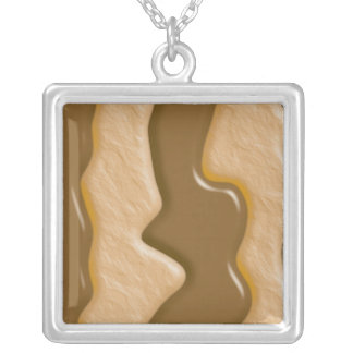 Drips - Chocolate Peanut Butter Square Pendant Necklace