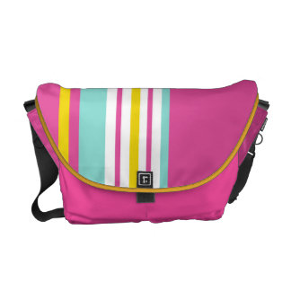 Drive in the Fast Lane Pink Yellow and Aqua Commuter Bags