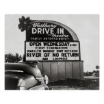 Drive-In Theatre, 1954. Vintage Photo Poster