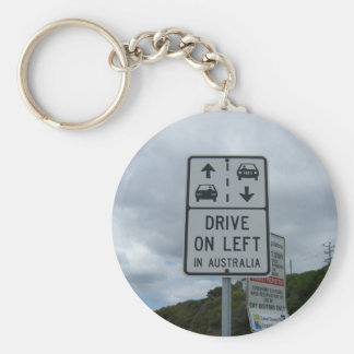 Drive On Left in Australia Sign Basic Round Button Key Ring