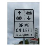 Drive On Left in Australia Sign Postcard