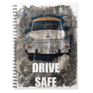 Drive Safe Retro Car Spiral Notebook