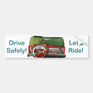 Drive Safely! Nostalgic Toy Dashboard Pic Bumper Sticker