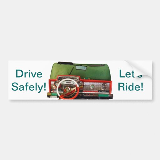 Drive Safely! Nostalgic Toy Dashboard Pic Bumper Stickers