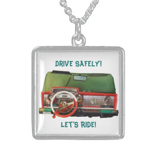 Drive Safely! Nostalgic Toy Dashboard Pic Square Pendant Necklace