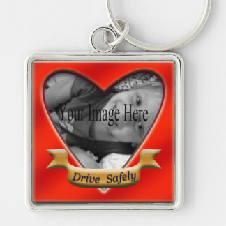 Drive Safely Photo Heart Keychain