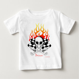 Drive! Skull, Crossed Bones, Racing Flags, Flames Baby T-Shirt