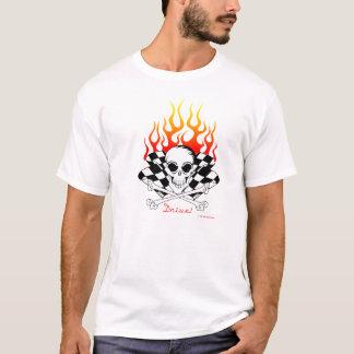 Drive! Skull, Crossed Bones, Racing Flags, Flames T-Shirt