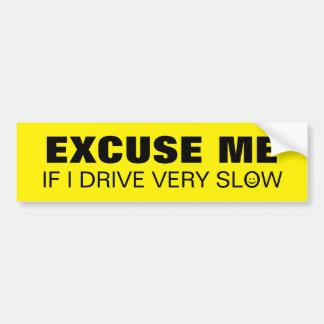 Drive Slow Friendly Warning Text with Smiley Face Bumper Sticker
