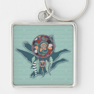 Driven Goose Spirit Guide for Native American Key Ring