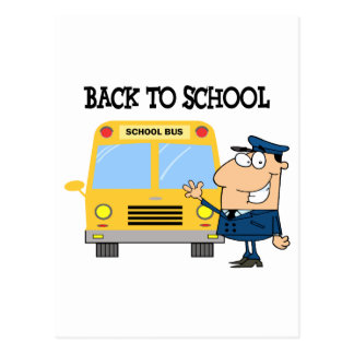Driver In Front of School Bus Post Cards