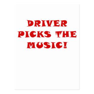 Driver Picks the Music Postcard